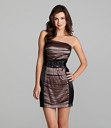 Teeze Me Belted Mesh Dress
