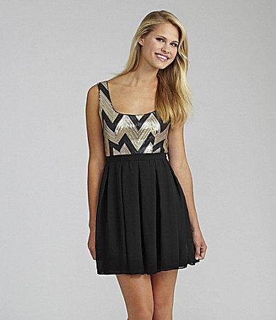 Teeze Me Zigzag Sequin Dress