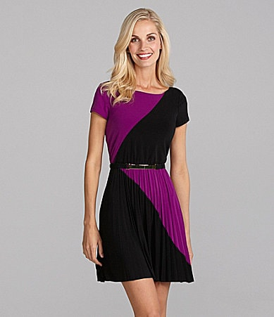 Max and Cleo Ericka Colorblock Belted Dress