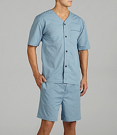 Roundtree & Yorke Big & Tall Woven Baseball Pajama Set