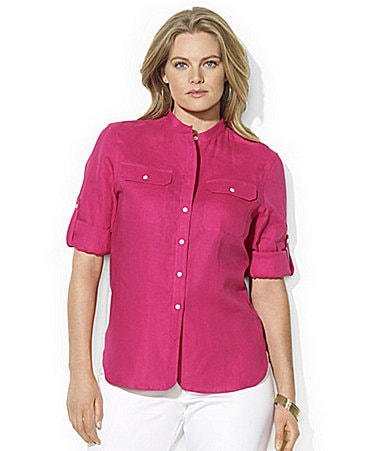Lauren Ralph Lauren Woman Maurise Roll-Sleeve Shirt