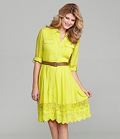 Antonio Melani Ashlyn Lace-Hem Shirtdress