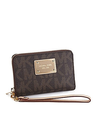 MICHAEL Michael Kors Signature Logo Zip-Around iPhone Wristlet