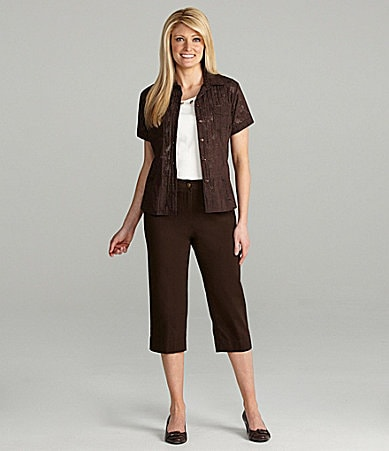 TanJay Crinkle Burnout Blouse, Embellished Knit Top & Comfort Stretch Waist Capri Pants