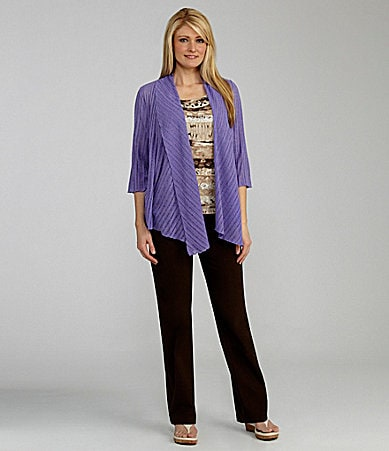 TanJay Leno Knit Cascade Cardigan, Animal Abstract Print Knit Top & Comfort Stretch Waist Pants