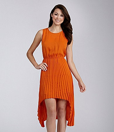 BB Dakota Pleated Hi-Low Dress