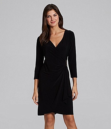 Calvin Klein Faux-Wrap LBD Dress