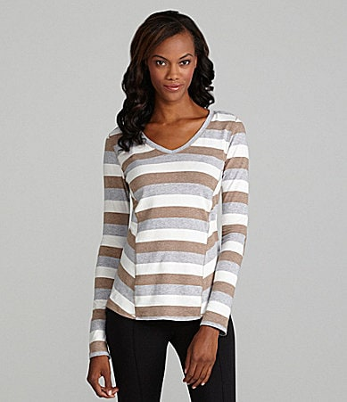 Calvin Klein Performance V-Neck Stripe Hi-Low Tee