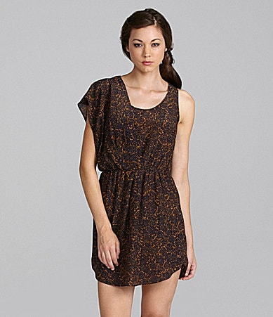 Greylin Asymmetric Floral-Print Dress