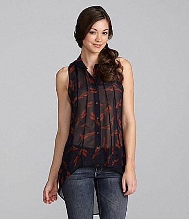 Greylin Hi-Low Conversation-Print Blouse