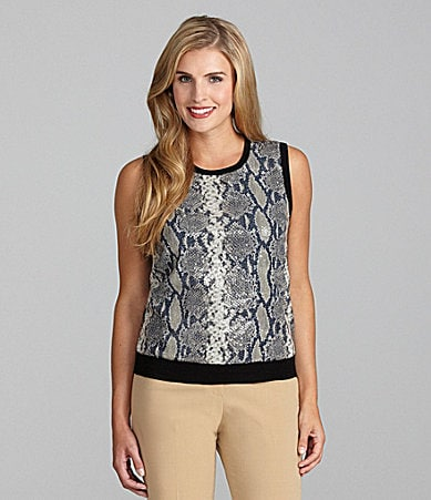 Jones New York Collection Sequin Snake-Print Shell