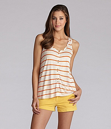 Kensie Stripe Button Front Top & Rolled Cuff Shorts