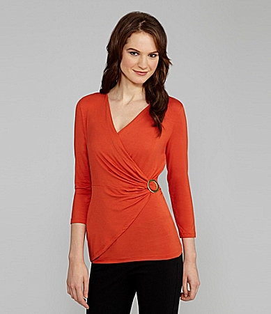 Jones New York Signature Surplice V-Neck Top