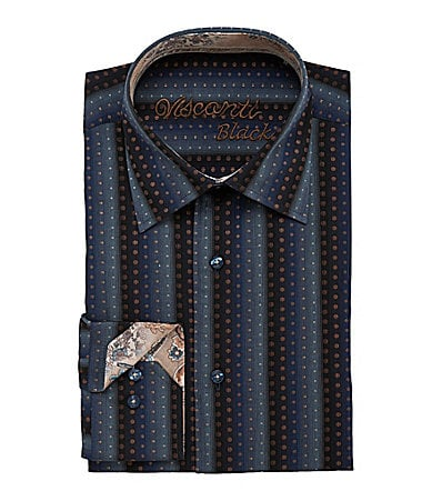 Visconti Blue Dot Text Striped Sportshirt