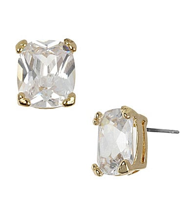Betsey Johnson Iconic Heart of Gold Square Crystal Stud Earrings