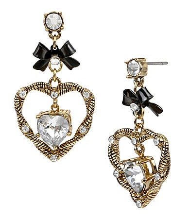 Betsey Johnson Iconic Heart of Gold Drop Earrings