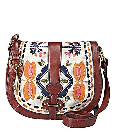 Fossil Vintage Re-Issue Embroidery Flap Cross-Body Bag