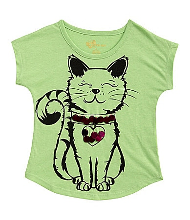 Copper Key 4-6X Paillette Kitty Print Top