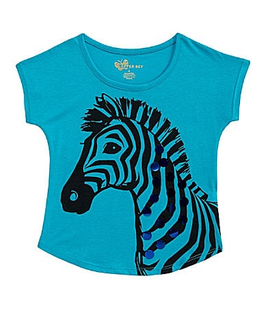 Copper Key 4-6X Paillette Zebra Print Top