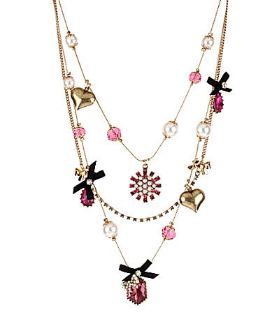 Betsey Johnson Iconic Fabulous Fuchsia Multi-Strand Necklace