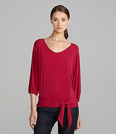Jones New York Signature Dolman-Sleeve Tie-Hem Top