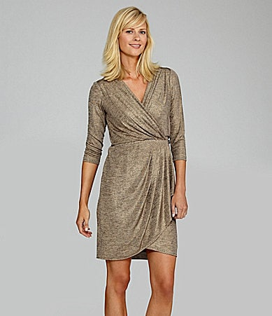 Maggy London Metallic Faux-Wrap Dress
