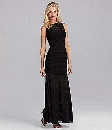 Xscape Sleeveless Illusion Gown