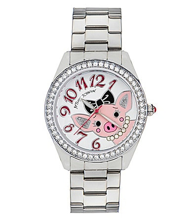 Betsey Johnson Miss Piggy Silvertone Watch