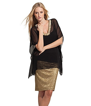 Karen Kane Beaded Sheer Top & Metallic Skirt