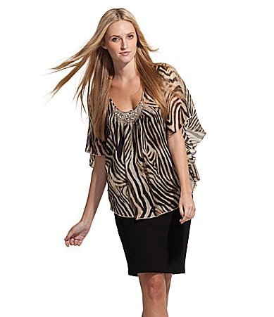 Karen Kane Beaded Zebra-Print Blouse & Pencil Skirt