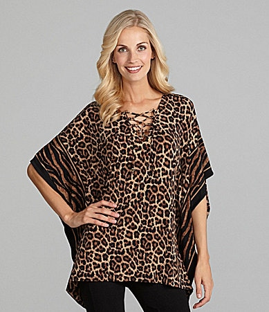 MICHAEL Michael Kors Lace-Up Animal-Print Tunic