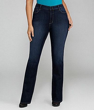NYDJ Plus Marilyn Straight-Leg Jeans With Embellished Back Pocket