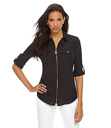 MICHAEL Michael Kors Zip-Front Camp Shirt