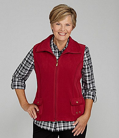 Allison Daley Petites Stand-Collar Zip-Front Vest