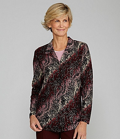 Allison Daley II Printed Pucker Knit Button-Front Blouse