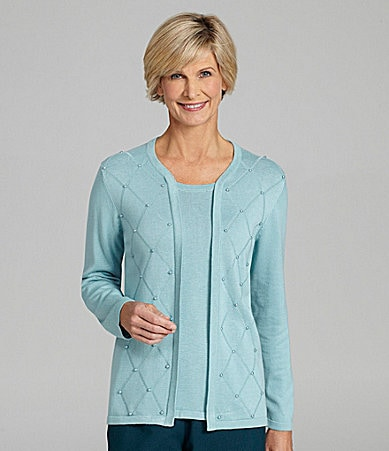 Allison Daley Petites Diamond-Stitch 2-Fer Cardigan Top