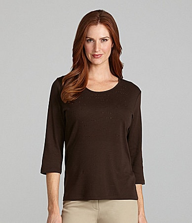TanJay Embellished Scoopneck Top
