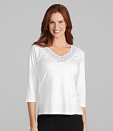 TanJay Satin-Loop V-Neck Knit Top