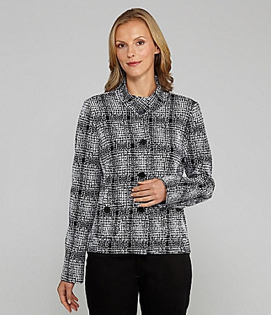 TanJay Jacquard Plaid Knit Button-Front Jacket
