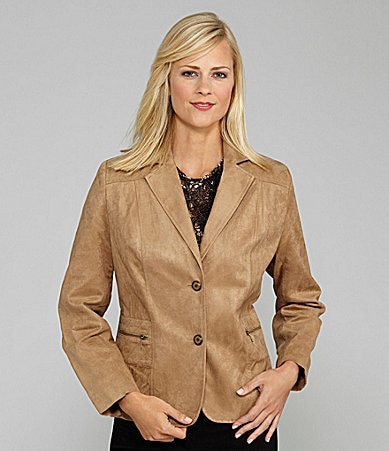 TanJay Petites Faux-Suede Notch-Collar Jacket