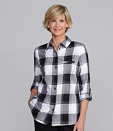 Allison Daley Petites Metallic Twill Plaid Blouse