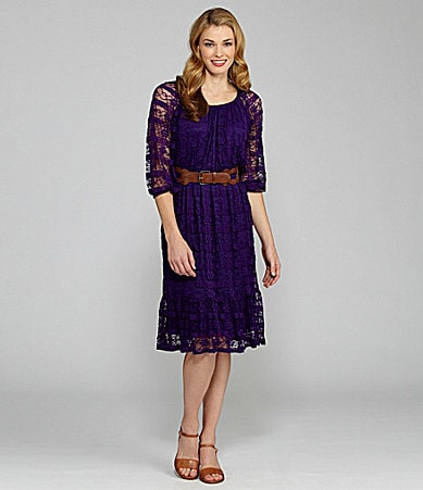 I.N. Studio Lace Peasant Dress