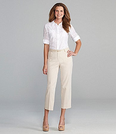 Calvin Klein Roll-Sleeve Blouse, Tank & Seersucker Pants