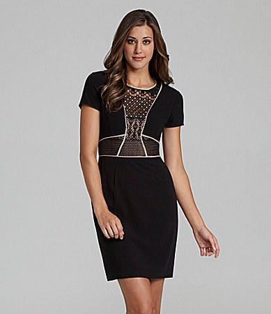 BCBGMAXAZRIA Libi Lace Inset Dress