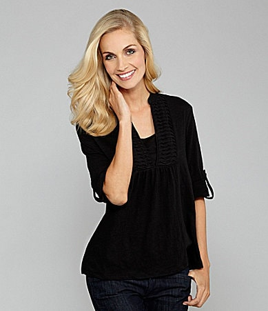 Westbound Woman Roll-Sleeve Splitneck Top