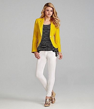 Cremieux Aniston Bright Blazer, Carly Stripe Top & 5-Pocket Skinny Pants