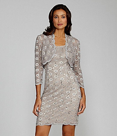 Alex Evenings Petites Sequin-Lace Bolero Jacket Dress