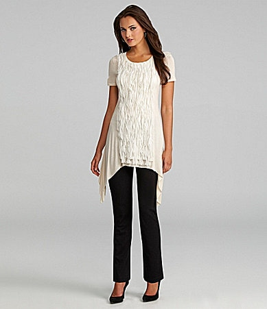 Nurture Chiffon-Trim Sharkbite Top & Slim Leg Ponte Pants