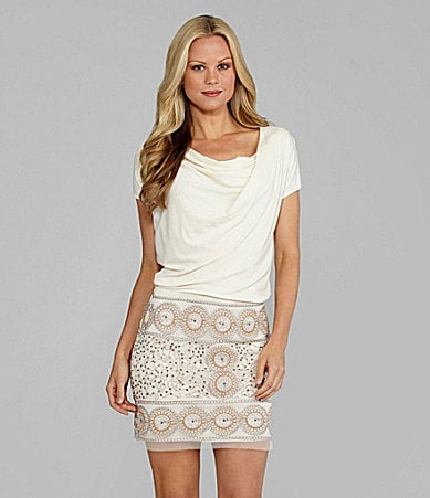 M.S.S.P. Jersey Sequin-Skirt Dress
