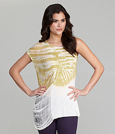 Gianni Bini Terry Abstract Tie-Dye Knit Top